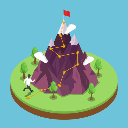 Flat 3d isometric business journey path to success target on the top of mountain. Mountain with climbing route to the peak. Career growth and goal achievement concept.