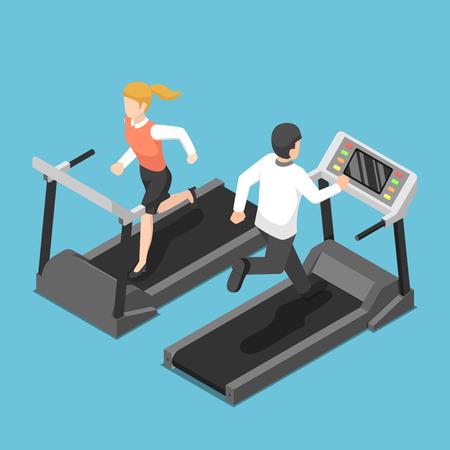 Flat 3d isometric businessman and businesswoman running on treadmill. Business training concept. Ilustracje wektorowe
