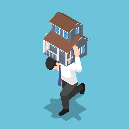 Flat 3d isometric businessman carrying a house on his back. Mortgage Loan and debt concept.