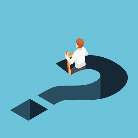 Flat 3d isometric businessman climbing up from question mark hole. Business solution concept. Vettoriali