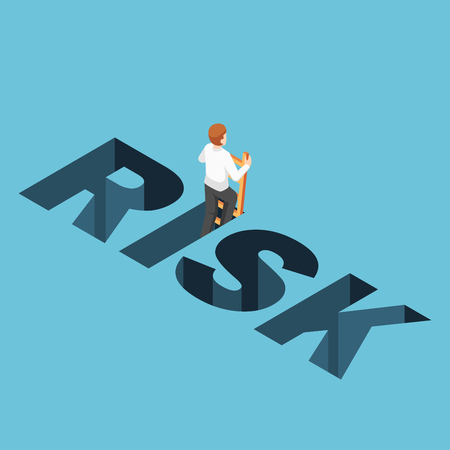 Flat 3d isometric businessman climbing up from risk hole. Business risk and solution concept.