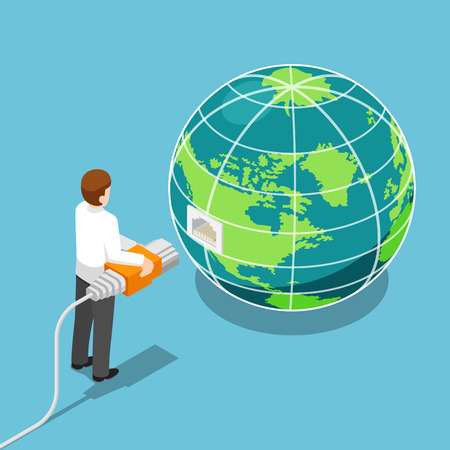 Flat 3d isometric businessman connecting network cable to the world. Global communication and network connection concept. Illusztráció
