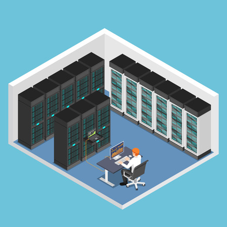 Flat 3d isometric businessman doing diagnostic test in database center or server computer room. Database server management concept.