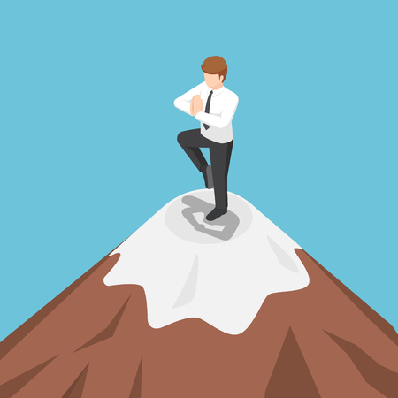 Flat 3d isometric businessman doing yoga on the top of mountain. Meditation and success concept.