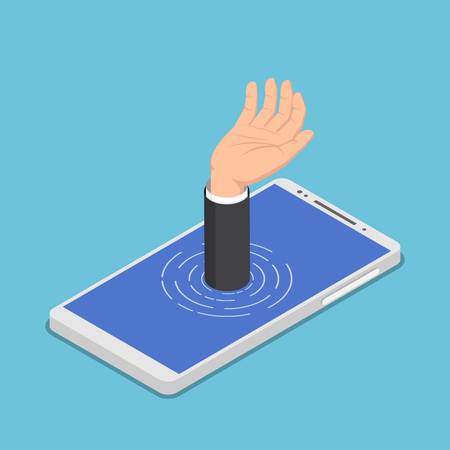 Flat 3d isometric businessman hand get drowned in smartphone. Smartphone addiction concept.