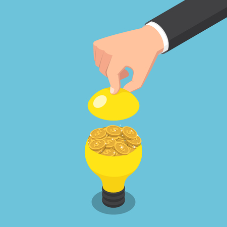 Flat 3d isometric businessman hand open light bulb with golden coin inside. Idea is money concept. 向量圖像