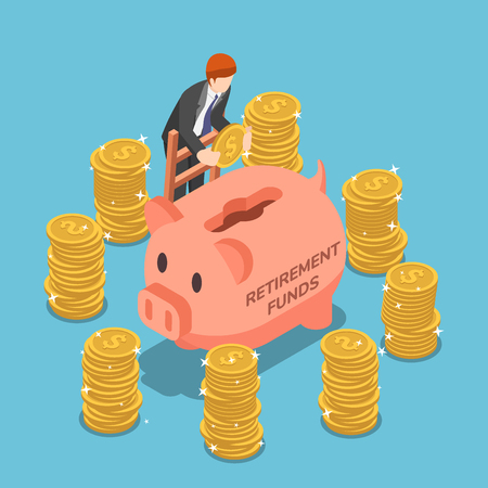 Flat 3d isometric businessman saving money in piggy bank. Retirement fund and financial concept.