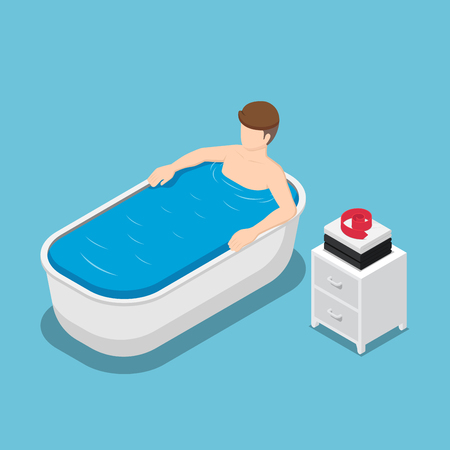 Flat 3d isometric businessman take a bath and relaxing in the bathtub. Relax concept.