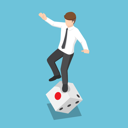 Flat 3d isometric businessman try to standing on rolling dice. Business risk and gambling concept.