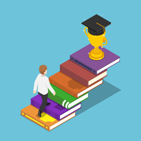 Flat 3d isometric businessman walking on book ladder to the trophy and graduation cap on the top. Business success and education concept. 向量圖像