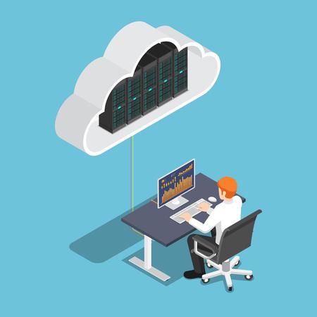 Flacher isometrischer 3D-Geschäftsmann, der am Desktop-PC arbeitet und in den Cloud-Speicher hochlädt. Konzept der Cloud-Computing-Technologie.
