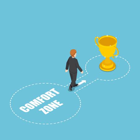 Flache isometrische 3D-Geschäftsleute kommen mit der Siegertrophäe aus der Komfortzone zum Erfolg. Persönliche Entwicklung. Herausforderung und Erfolgskonzept. Vektorgrafik