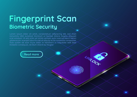 3d isometric web banner smartphone with fingerprint scaning system. Biometric authentication methods and security system on mobile device landing page concept.