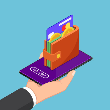 Flat 3d isometric businessman hand holding smartphone with wallet and credit card on screen. E-wallet and mobile payments concept.