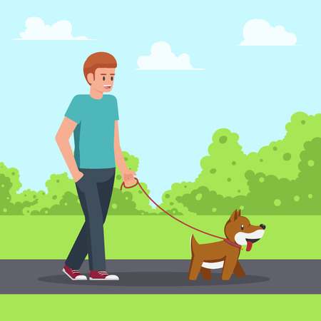 Man walking with his dog in the garden. urban life and relax concept.