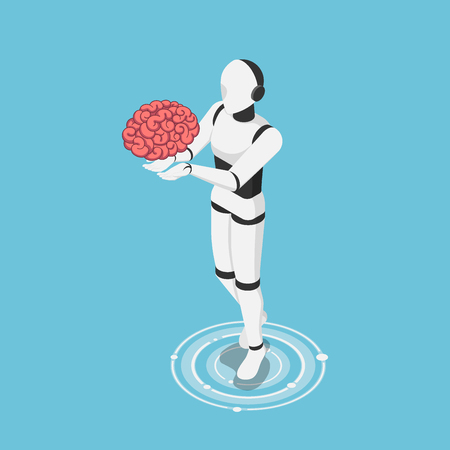 Flat 3d isometric ai robot holding human brain. Artificial intelligence technology and machine learning concept. 版權商用圖片 - 120781495