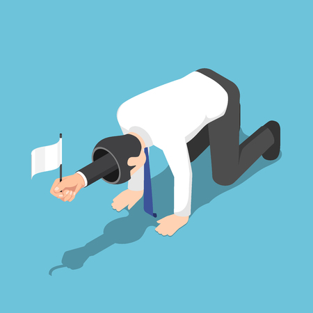 Flat 3d isometric businessman raising the white flag and serrendering from his opened head. Business failure concept. Stockfoto - 127532936