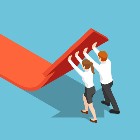 Flat 3d isometric business people push arrow graph up. teamwork and solution concept. 일러스트