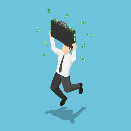 Flat 3d isometric businessman jumping and celebrating with suitcase full of money. Business success concept. 일러스트