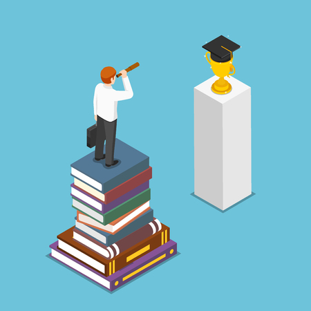 Flat 3d isometric businessman standing on stack of books and looking to graduation cap by spyglass. Education and business vision concept.
