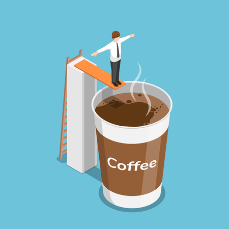 Flat 3d isometric businessman ready to jump into a cup of coffee. Coffee break concept 向量圖像