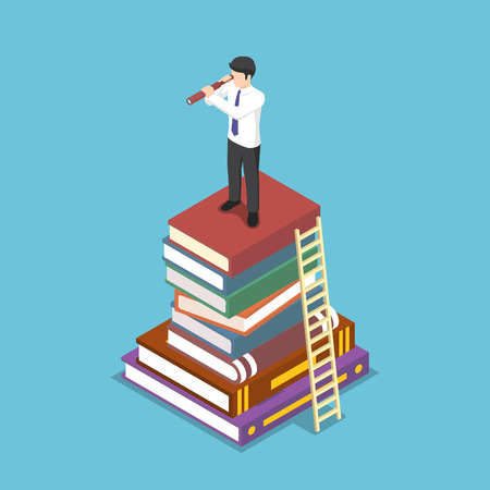Flat 3d isometric businessman looking through telescope on stack of book. Business vision and education concept. 向量圖像