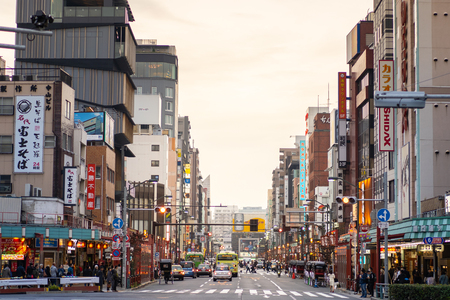 TOKYO, JAPAN - November 19, 2018: Traffic at Kaminarimon street of Asakusa District in Tokyo.