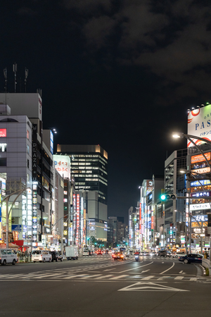 TOKYO, JAPAN - November 20, 2018: Night view of Chuo Dori in the Ueno area in Tokyo, Japan.