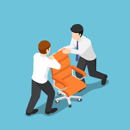Flat 3d isometric two business people fighting over for ceo chair. Business competition concept. 版權商用圖片 - 114968960