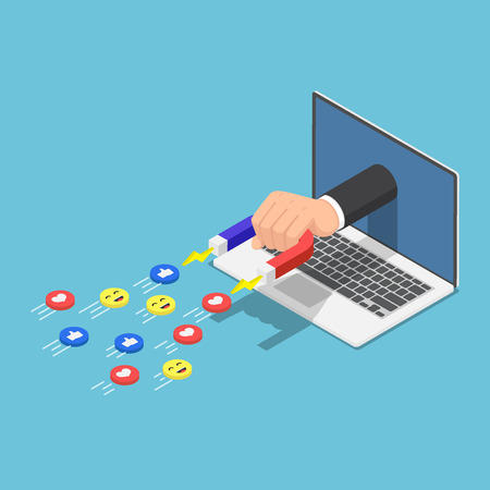 Flat 3d isometric Hand holding a magnet appeared from laptop monitor and attracting social media icons. Digital marketing and social media concept. 일러스트