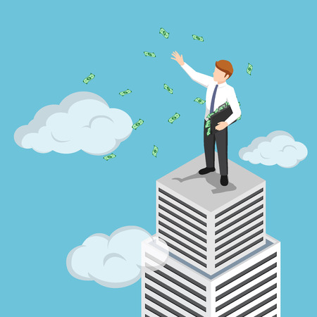 Flat 3d isometric billionaire businessman at the top of skyscraper throwing his money. Business success concept. 일러스트