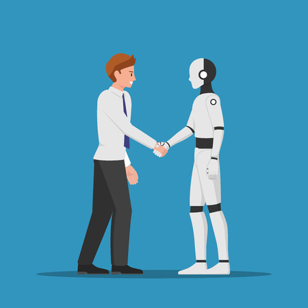 Businessman shaking hand with AI robot. Artificial intelligence concept. 일러스트
