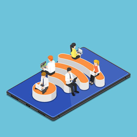 Flat 3d isometric busienss people with laptops working while sitting on WiFi hotspot icon on digital tablet. WiFi hotspot wireless network and internet connection concept. 版權商用圖片 - 120781646