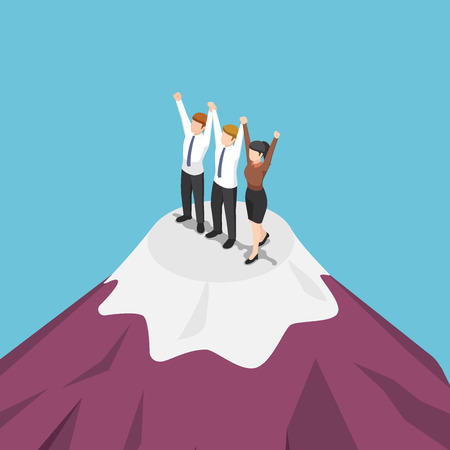 Flat 3d isometric group of businessman holding hand and celebrating on the top of mountain. Business success and teamwork concept.