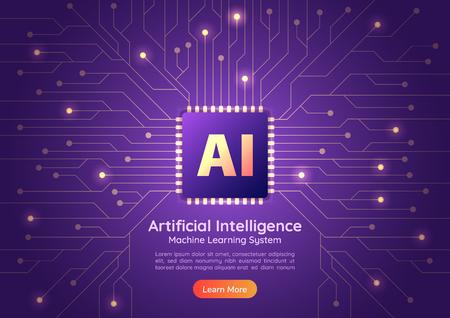Bannière Web Puce d'intelligence artificielle AI sur carte de circuit informatique. Page de destination du concept d'IA et d'apprentissage automatique.