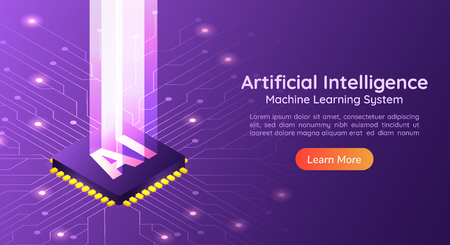 3d isometric web banner Artificial Intelligence AI with light pillar on computer circuit board. AI and Machine learning concept landing page.