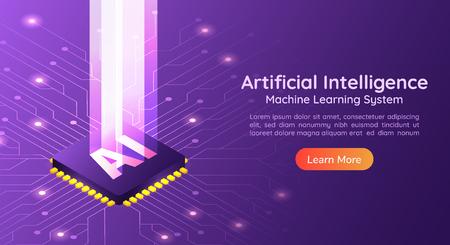 Banner web isométrico 3d Inteligencia artificial AI con pilar de luz en la placa de circuito de la computadora. Página de inicio del concepto de inteligencia artificial y aprendizaje automático.