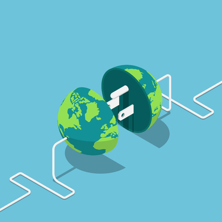 Flat 3d isometric earth globe as a plug and socket connected together. Global internet communication and network connection concept.