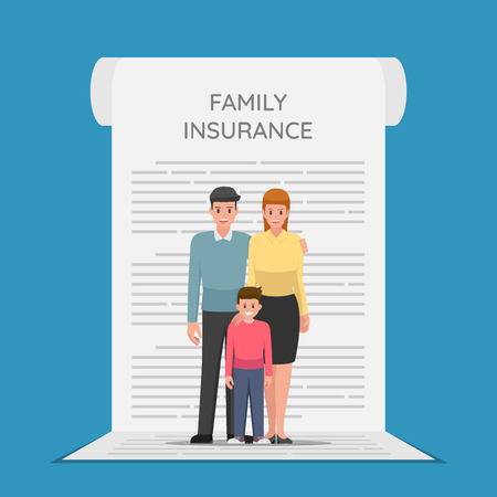 Family Members are standing on the insurance policy document. Health and family insurance concept. 向量圖像