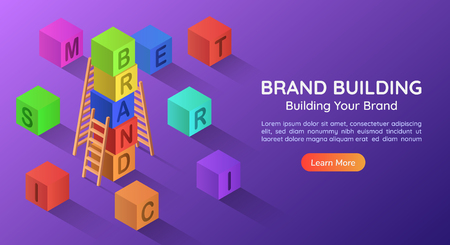 3d isometric web banner alphabet block combined a BRAND word in a row. Brand building concept landing page. 版權商用圖片 - 120781824