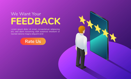 3d isometric web banner businessman with phone and five star feedback. Customer satisfaction and feedback concept landing page.