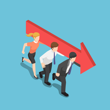 Flat 3d isometric business people carry an arrow and move forward together. Business team and teamwork concept.