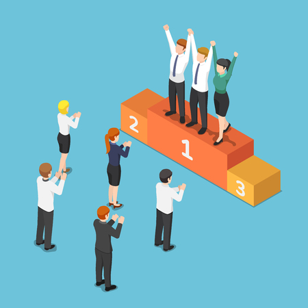 Flat 3d isometric business team on the winner podium and raising hand together. Teamwork concept. 일러스트