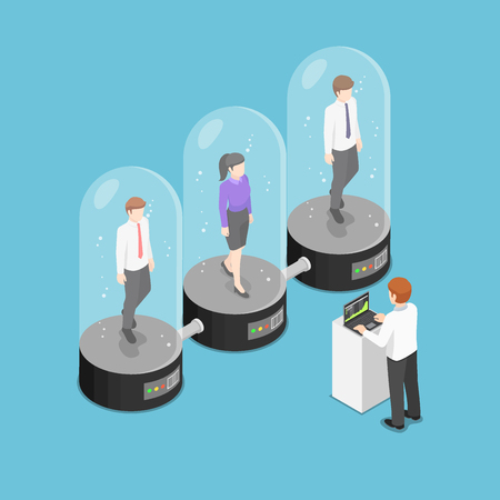 Flat 3d isometric businessman checking sleeping employee inside the cryogenic capsules. Human resource management concept. 向量圖像