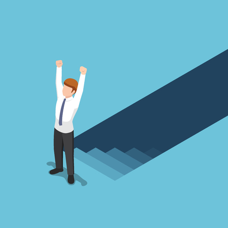 Flat 3d isometric businessman climbed up from underground to the top of the stairs. Effort and ambitions concept.