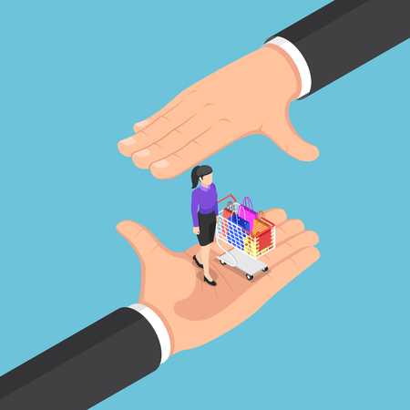 Flat 3d isometric businessman hands protecting the customer and shopping cart. Customer retention concept.