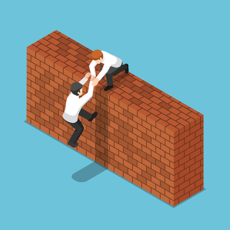 Flat 3d isometric businessman help his friend to climbing up a brick wall. Teamwork concept. 向量圖像