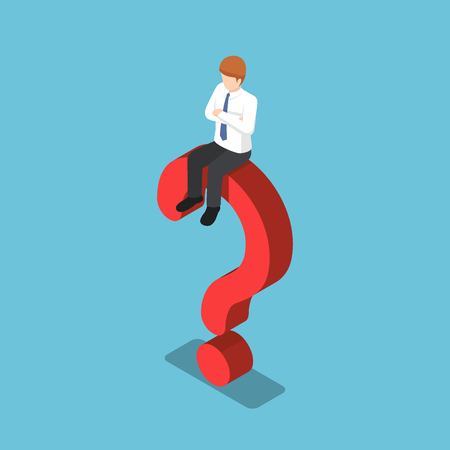 Flat 3d isometric businessman is sitting on the question mark sign. Business problem concept. Illustration