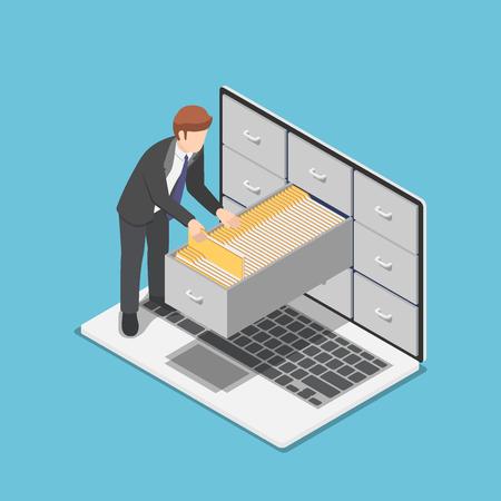 Flacher isometrischer 3D-Geschäftsmann verwaltet Dokumentenordner im Schrank innerhalb des Laptop-Bildschirms. Datei- und Datenverwaltungskonzept.