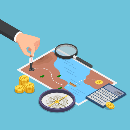 Flat 3d isometric businessman planning the way to success on treasure map with compass, calculator, magnifying glass. Business planning concept. 일러스트